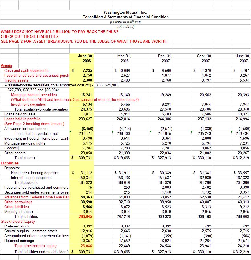 Mr mortgages guide to the truth wamu liquidity options wamu loan portfolio breakdown buycottarizona Choice Image